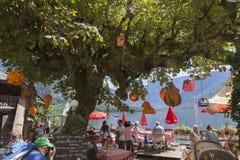 Restaurant in Hallstatt. Nice open air place at a restaurant in Hallstatt Royalty Free Stock Images