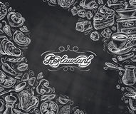 Restaurant. hand-drawn sketches on the theme of food and drinks. vector illustration Stock Photography