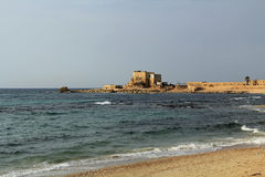 Restaurant by the harbor at Caesarea Maritima National Park Royalty Free Stock Images