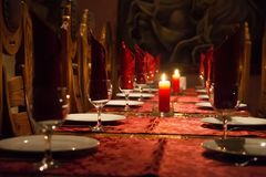 Served table with candles royalty free stock photos