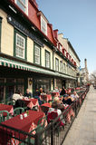 Restaurant in Haute Ville Old Quebec Stock Image