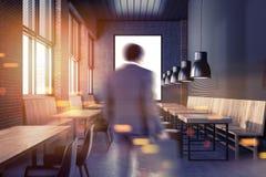 Restaurant het voor de betere inkomstklasse van de zakenmanzolder, venster Royalty-vrije Stock Foto