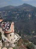 Restaurant in heuvelstad van Gourdon, de Provence Stock Afbeelding