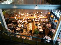 Restaurant. High angle view of modern restaurant with diners eating Royalty Free Stock Photo