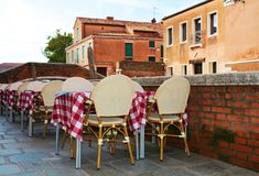 Restaurant and historical buildings, oudoors, Venice, Europe Stock Photos