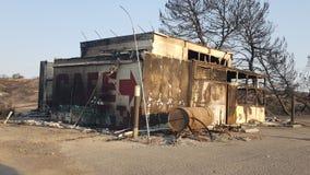 Restaurant historique détruit par feu Images libres de droits