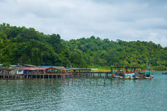 The restaurant and home on Koh Chang pier Stock Photography