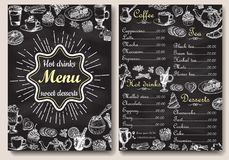 Restaurant hot drinks menu design with chalkboard background. Vector illustration template in vintage style. Hand drawn. Style Royalty Free Stock Photo