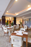 Restaurant in hotel. Interior decoration of the restaurant in deluxe hotel Stock Image