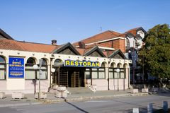 The restaurant and hotel `Novi palas` in Krusevac stock image