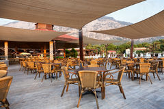 Restaurant Hotel in Turkey without tourists. Restaurant Hotel in Turkey without the tourists in the tourist season due to crisis royalty free stock image