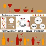 Restaurant icon collection Royalty Free Stock Photos