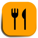 Restaurant icon,. The restaurant icon,  with fork and knife on the yellow background Stock Image