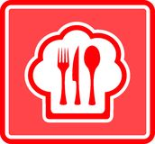 Restaurant icon on red background Royalty Free Stock Image