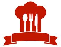 Restaurant icon with red chef hat Stock Photos