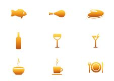 Restaurant  Icon Set. Royalty Free Stock Photos