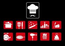 Restaurant icon set  on black background,  illustrations Royalty Free Stock Photos