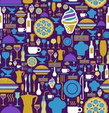 Restaurant icon set seamless pattern. Royalty Free Stock Photo