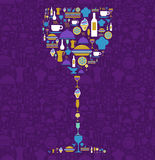 Restaurant icon set in wine glass shape Stock Photos