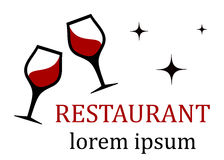 Restaurant icon with wine glass Royalty Free Stock Photos