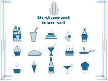 Restaurant icons in art deco style. Cooking and kitchen icons. Vector illustration Stock Photography