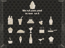 Restaurant icons in art deco style. Cooking and kitchen icons. Royalty Free Stock Photography