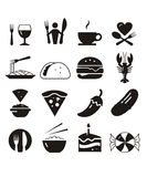 Restaurant Icons - Black Royalty Free Stock Photography
