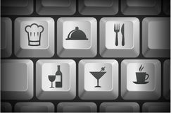 Restaurant Icons on Computer Keyboard Buttons Royalty Free Stock Images