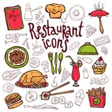 Restaurant icons doodle symbols sketch Stock Photo