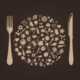 Restaurant Icons In Form Of Sphere. Vector Royalty Free Stock Photo