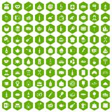 100 restaurant icons hexagon green Royalty Free Stock Photography