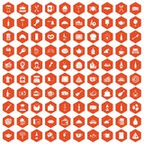 100 restaurant icons hexagon orange. 100 restaurant icons set in orange hexagon isolated vector illustration stock illustration