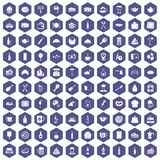 100 restaurant icons hexagon purple. 100 restaurant icons set in purple hexagon isolated vector illustration vector illustration