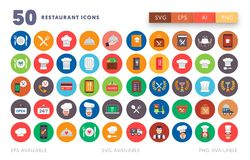 50 Restaurant Icons. Restaurant Icons Including restaurant and cooking icons designed in a flat style. Cooking and food icons ready to be used in your designs stock illustration