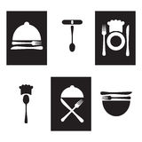 Restaurant icons, logo black and white Royalty Free Stock Photos