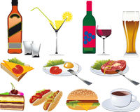Restaurant Icons set. For Menu isolated on white Royalty Free Stock Images