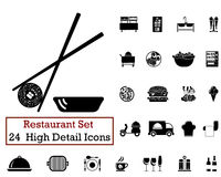24 Restaurant icons. Set of 24 Restaurant icons in Black Color Stock Image
