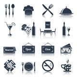 Restaurant icons set black Stock Photography