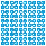 100 restaurant icons set blue. 100 restaurant icons set in blue hexagon isolated vector illustration Stock Photo