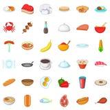 Restaurant icons set, cartoon style Stock Images