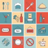 Restaurant icons set flat line Stock Images