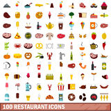 100 restaurant icons set, flat style. 100 restaurant icons set in flat style for any design vector illustration Stock Images