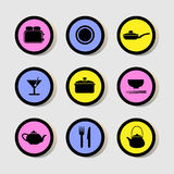 Restaurant icons set great for any use. Vector EPS10. Stock Images