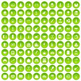 100 restaurant icons set green. 100 restaurant icons set in green circle isolated on white vectr illustration Vector Illustration