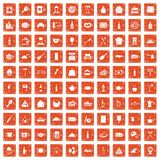 100 restaurant icons set grunge orange. 100 restaurant icons set in grunge style orange color isolated on white background vector illustration Royalty Free Stock Photography