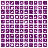 100 restaurant icons set grunge purple. 100 restaurant icons set in grunge style purple color isolated on white background vector illustration Stock Photo