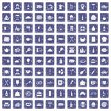 100 restaurant icons set grunge sapphire. 100 restaurant icons set in grunge style sapphire color isolated on white background vector illustration Stock Image