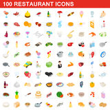 100 restaurant icons set, isometric 3d style. 100 restaurant icons set in isometric 3d style for any design vector illustration royalty free illustration