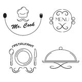Restaurant icons set. Line icons Royalty Free Stock Images