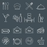 Restaurant icons set outline Royalty Free Stock Image
